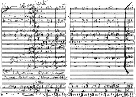 First page of Pablo Luna's manuscript score for El sapo enamorado