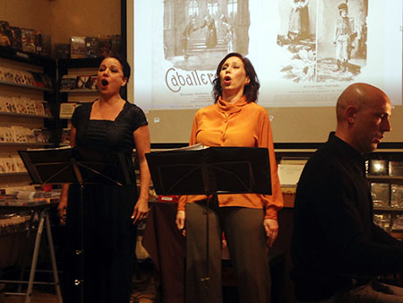 Gloria Londoño, Anna Tonna and Elías Romero perform for the presentation of the Exhibition Book, at La Quinta de Mahler in Madrid