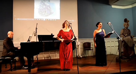 Elías Romero, Anna Tonna and Gloria Londoño perform Arana's repertoire at the International Institute Madrid (photo c. c/ Miguel Ángel)